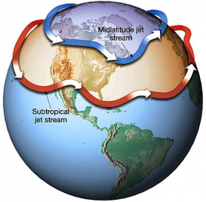 The subtropical jet stream, the Himalayan Plateau and Mt ...